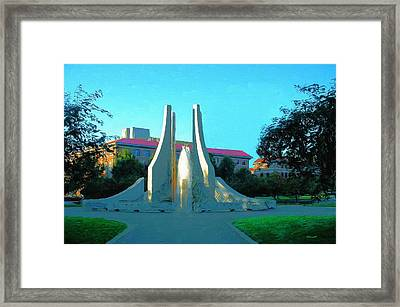Framed Print featuring the digital art Purdue Mall Water Sculpture by Dennis Lundell