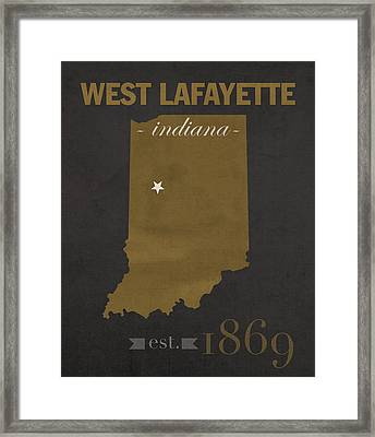 Purdue University Boilermakers West Lafayette Indiana College Town State Map Poster Series No 090 Framed Print by Design Turnpike