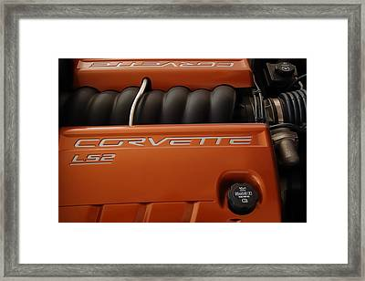 Pure American Racing - Corvette Engine The Ls-2  Framed Print by Steven Milner