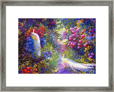 White Peacocks, Pure Bliss Framed Print by Jane Small