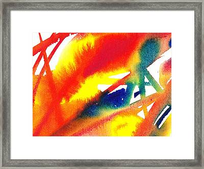 Pure Color Inspiration Abstract Painting A Feather Red  Framed Print
