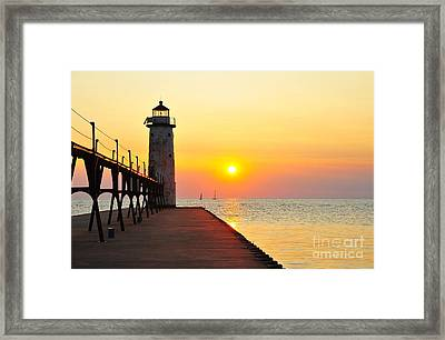 Pure Michigan Lighthouse Framed Print by Terri Gostola