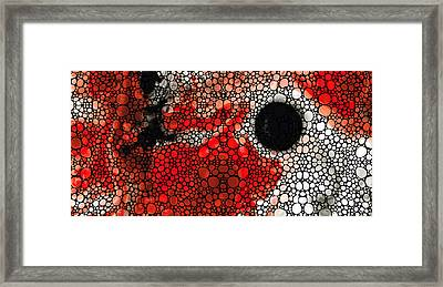 Pure Passion 2 - Stone Rock'd Red And Black Art Painting Framed Print