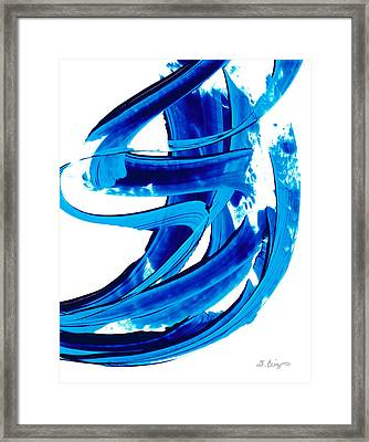 Pure Water 304 - Blue Abstract Art By Sharon Cummings Framed Print