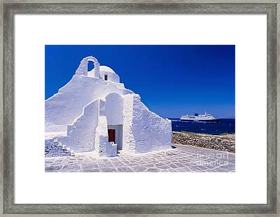 Pure White Church Framed Print by Aiolos Greek Collections