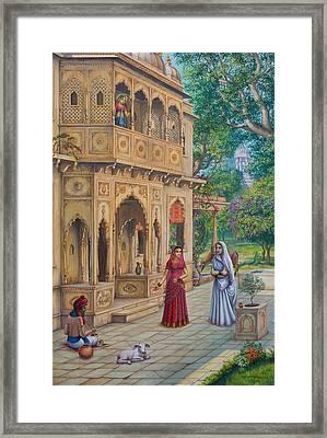 Purnamasi In House Of Kirtida Framed Print by Vrindavan Das