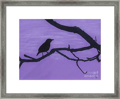 Purple - Bird - Silhouette Framed Print