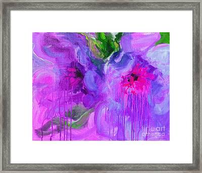 Purple Abstract Peonies Flowers Painting Framed Print by Svetlana Novikova