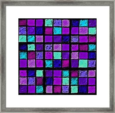 Purple And Aqua Sudoku Framed Print by Karen Adams