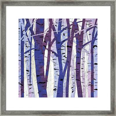 Plum And Blue Birch Trees - Plum And Blue Art Framed Print