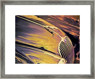Purple And Gold Antique Jaguar - Horizontal Framed Print by Lyn Voytershark