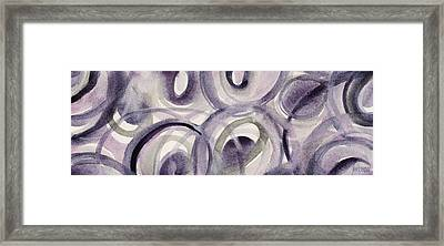 Purple And Green Circles Abstract Panoramic Painting Framed Print by Beverly Brown