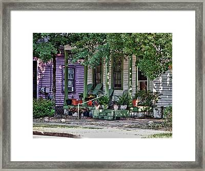 Purple And Green House  Framed Print