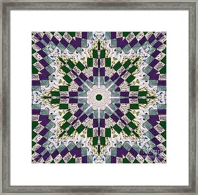 Purple And Green Patchwork Art Framed Print