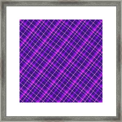 Purple And Pink Diagonal Plaid Fabric Background Framed Print by Keith Webber Jr