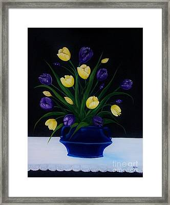 Purple And Yellow Tulips Framed Print by Peggy Miller
