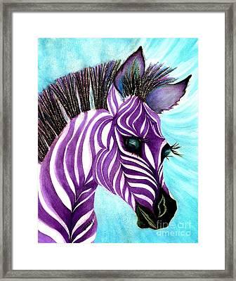 Purple Baby Zebra Framed Print by Janine Riley