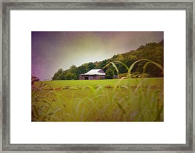 Purple Barn Framed Print