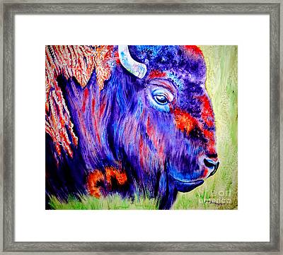 Purple Buffalo Framed Print by Tracy Rose Moyers