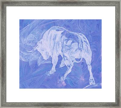 Purple Bull Negative Framed Print