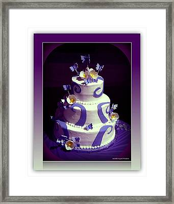 Purple Butterfly Wedding Cake Framed Print by Michelle Frizzell-Thompson
