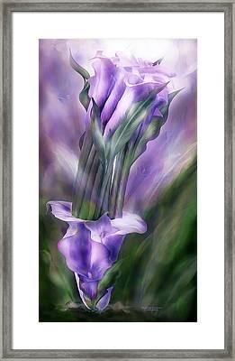 Purple Callas In Calla Vase Framed Print by Carol Cavalaris