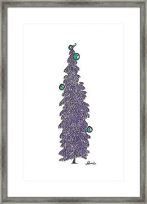 Purple Christmas Tree Framed Print