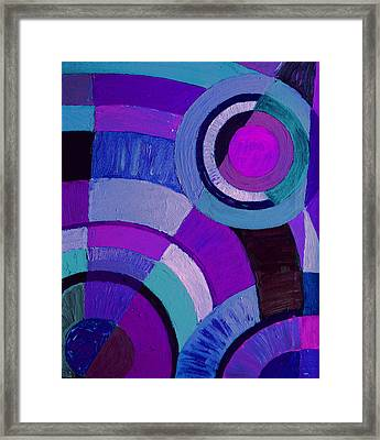 Purple Circle Abstract Painting Framed Print by Karen Adams