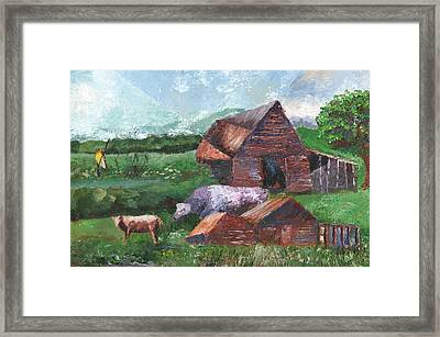 Purple Cow And Barn Framed Print by William Killen