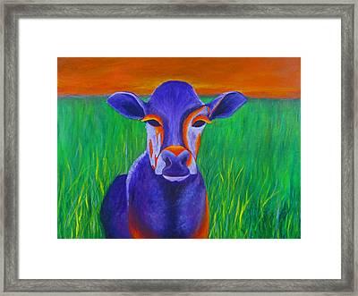 Purple Cow Framed Print by Roseann Gilmore