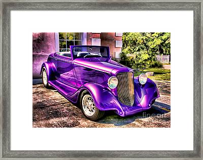 Framed Print featuring the photograph Purple Custom Roadster by Clare VanderVeen