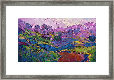 Framed Print featuring the painting Purple Dawn by Erin Hanson