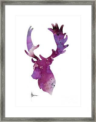 Purple Deer Head Silhouette Watercolor Artwork Framed Print by Joanna Szmerdt