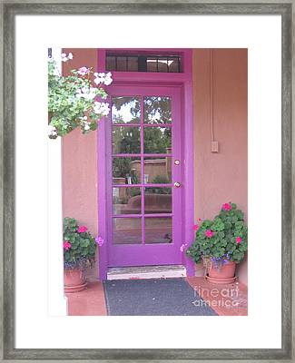 Framed Print featuring the photograph Purple Door by Dora Sofia Caputo Photographic Art and Design