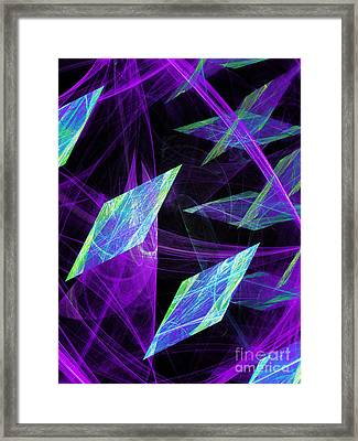 Purple Floating Diamonds Framed Print by Andee Design
