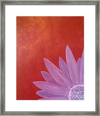 Purple Flower - Red Metallic Background Framed Print