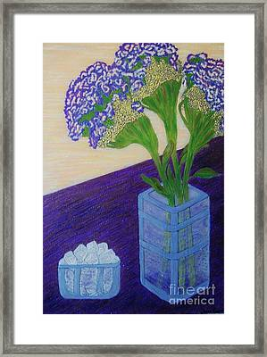 Framed Print featuring the painting Purple Flowers And Ice by Jasna Gopic