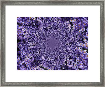 Purple Flowers Kaleidoscope Framed Print by Carol Groenen