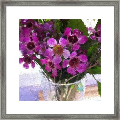 Purple Flowers Framed Print by Linda Woods