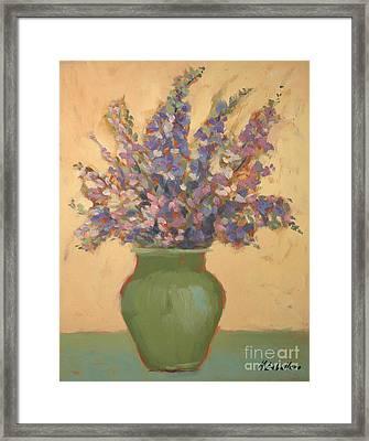 Purple Flowers Framed Print by Monica Caballero