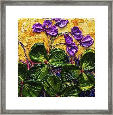 Purple Flowers Shamrocks Framed Print by Paris Wyatt Llanso
