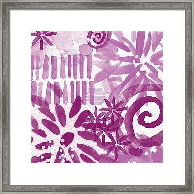 Purple Garden - Contemporary Abstract Watercolor Painting Framed Print