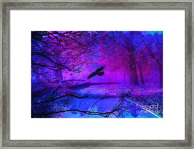 Purple Gothic Haunting Nature - Surreal Fantasy Gothic Raven Forest Woodlands Framed Print by Kathy Fornal