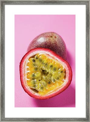 Purple Granadilla (passion Fruit), Halved Framed Print
