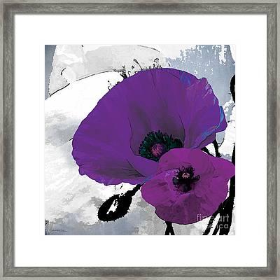 Purple Grey Poppy A Framed Print by Grace Pullen