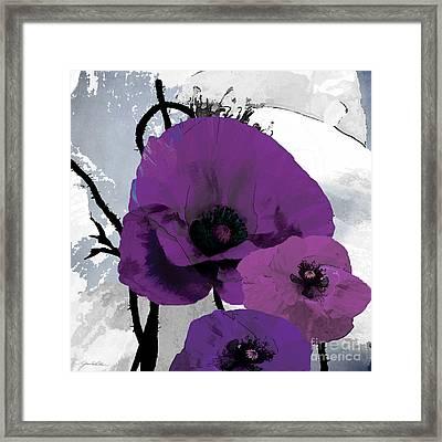 Purple Grey Poppy B Framed Print