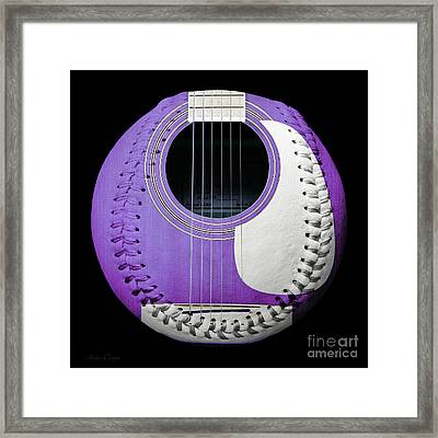 Purple Guitar Baseball White Laces Square Framed Print by Andee Design