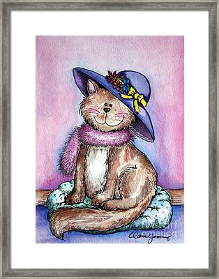 Purple Hat Cat Framed Print