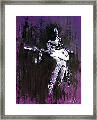 Purple Haze - Hendrix Framed Print by William Walts