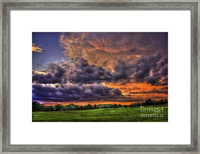 Purple Haze Clouds At Sunset Over The Hayfield Framed Print